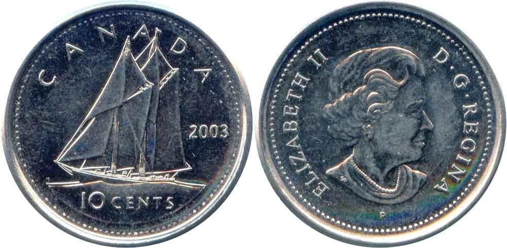 Tiền canada hôm nay đồng 10 cent